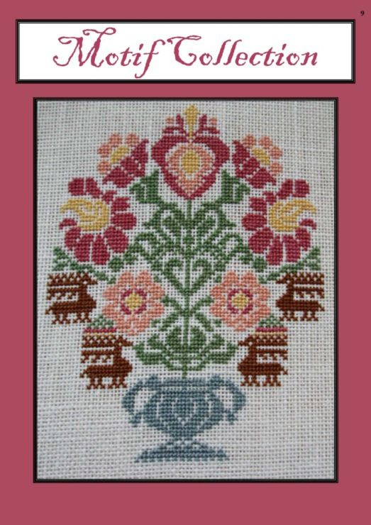 Vase of Flowers • 1/2 Stitched project. Both this and the following pin were designed to be incorporated into a sampler.