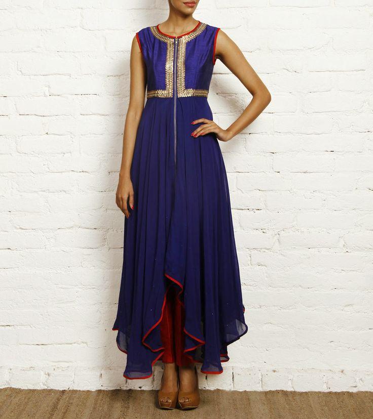 Blue Georgette and Dupion Silk Anarkali Set, by Nidhika Shekhar
