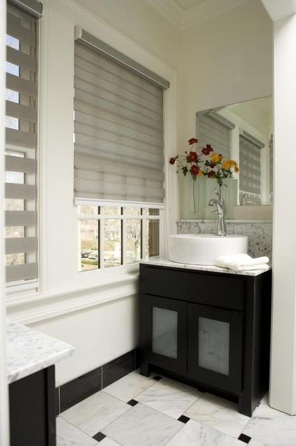 Budget Blinds 'Illusions' Shades are a good choice in this contemporary bathroom. We can help achieve this look in your home - www.budgetblinds.com/southorlando