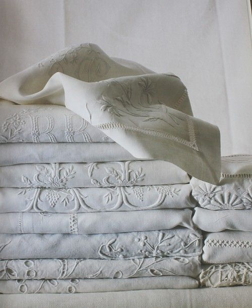 Beautiful French embroidered linens.  From Francoise de Bonneville's Book Cover