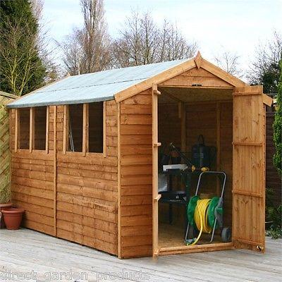 10x6 overlap wooden garden shed windows double door apex roof felt free delive - Garden Sheds Quick Delivery
