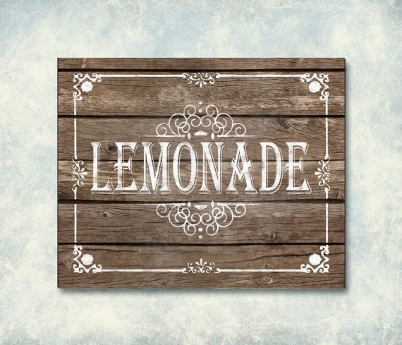 Printable Wedding Lemonade Sign  Wooden Sign by SasafrasPrintables