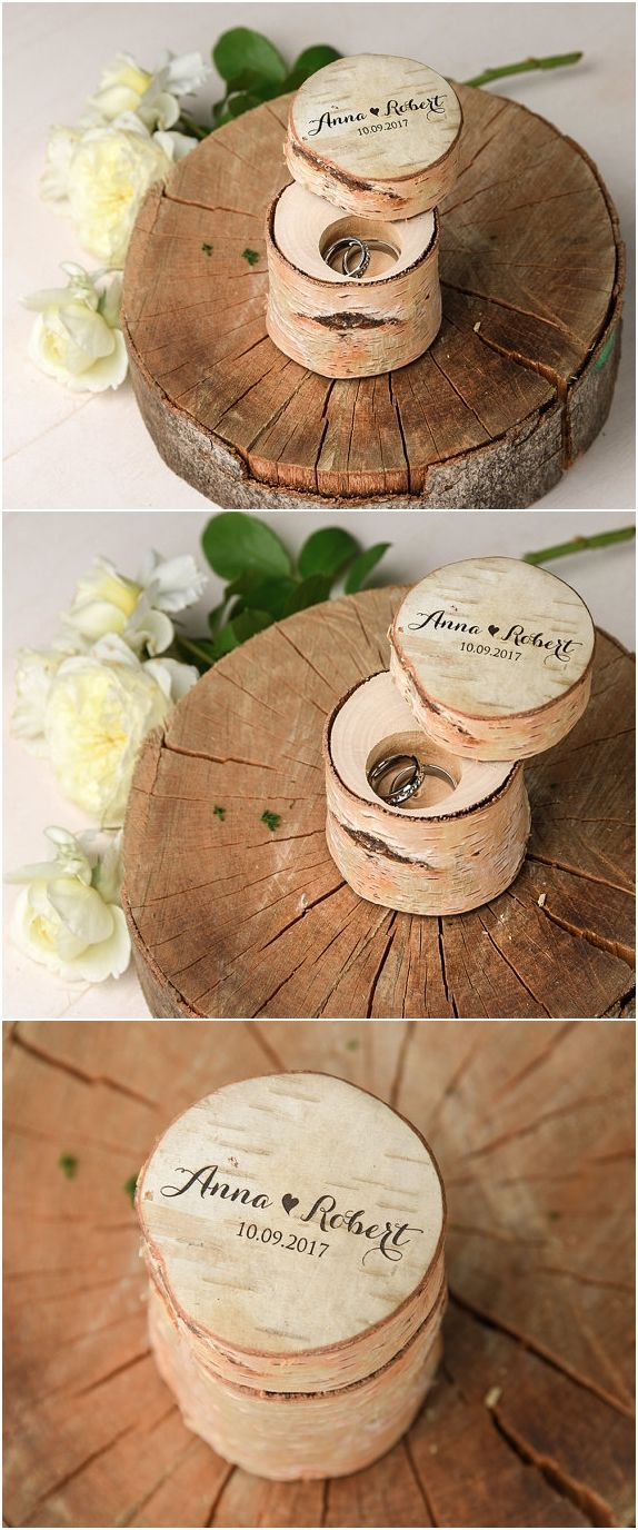 Rustic Wedding Ring Holder, Custom Brich Bark Box, Engraved Wood Wedding Box, Wodden Ring Box, Custom Wedding Ring Holder Wood Ring Bearer