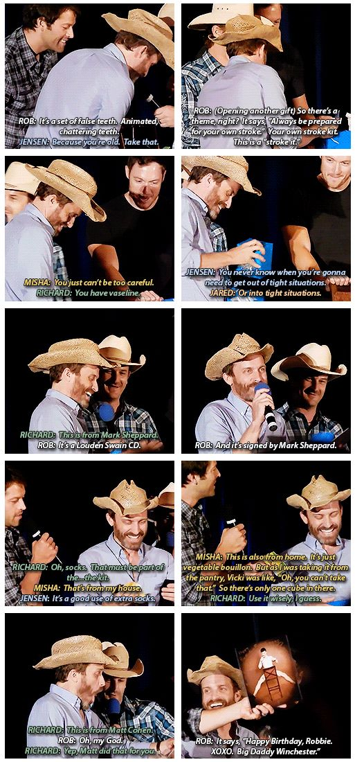 [gif-set] Rob Benedict's birthday gifts from the cast - DallasCon 2014