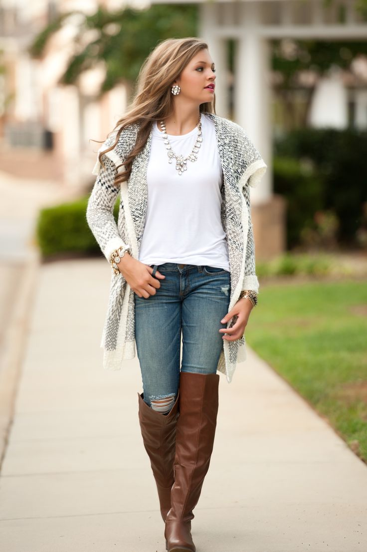 Casual flowy white dress fashion style 2015 - Casual Date Night Boyfriend Sweater White T Shirt Jeans Tall Boot Statement Necklace