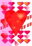 Composition from small hearts - Stock illustration