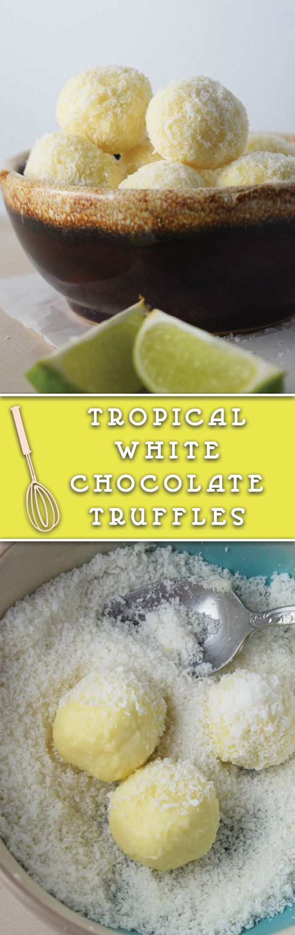 Tropical White Chocolate Truffles - Delicious white chocolate truffles coated with coconut. They are a perfect treat!