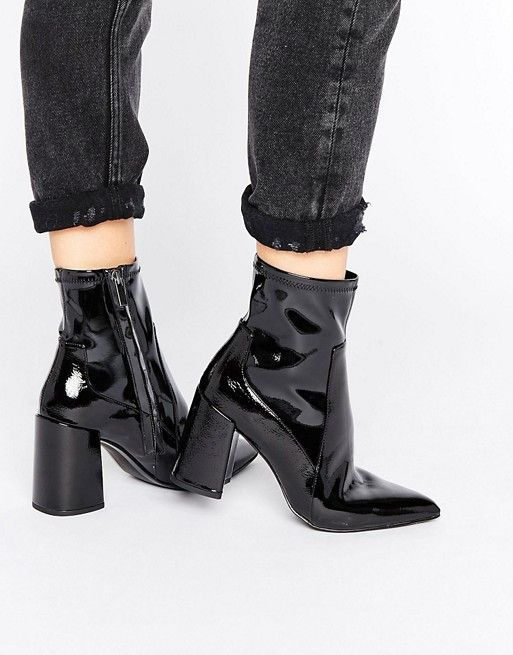 Mango | Mango Patent Point Block Heel Ankle Boot