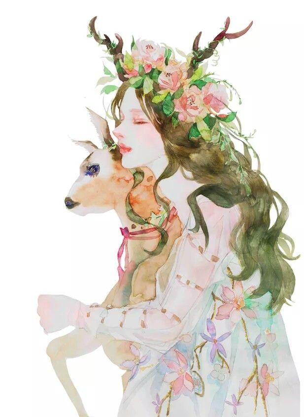 Deer Girl Art Print By Tanooklings