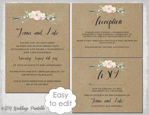 Rustic Wedding invitation templates DIY by diyweddingsprintable