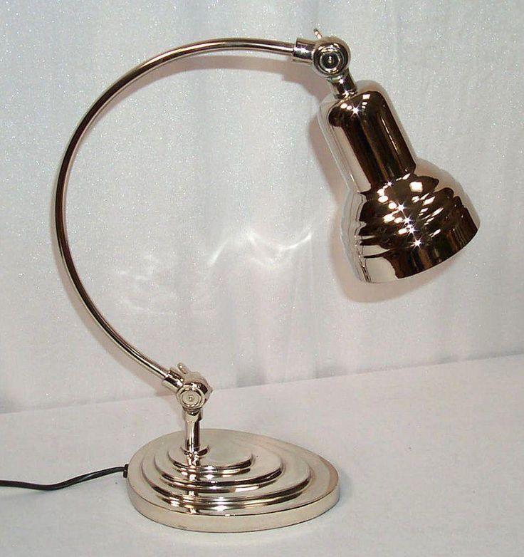 Beautiful Details zu G Edle Art Deco Schreibtischlampe Lampe Tischlampe im Bauhaus Stil silbern