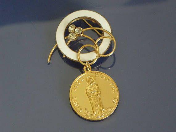 St Jude brooch, vintage Catholic holy medal, 1950s, white enamel on golden metal with dangling saint medal, rhinestone