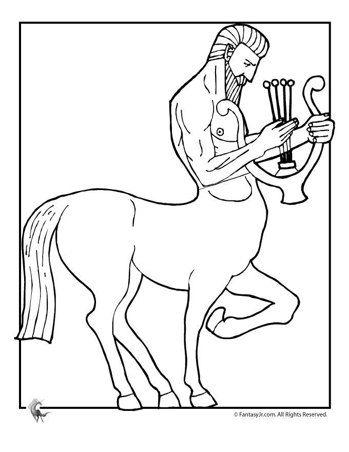 fantasy jr centaur and harp coloring page