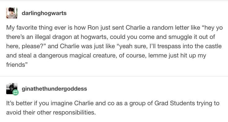 Avoiding responsibilities level - Charlie Weasley