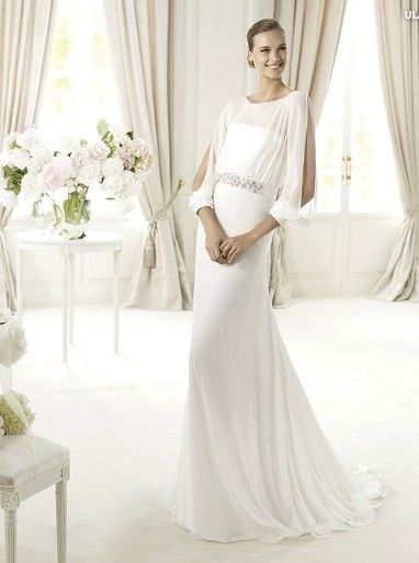 Pronovias Wedding dress Chiffon a-line gown with sheer long slitted