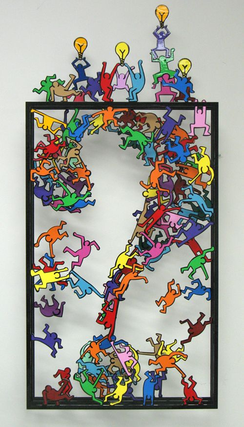 Thinking Outside Of The Box - (Keith Haring Homage). Arte en metal.