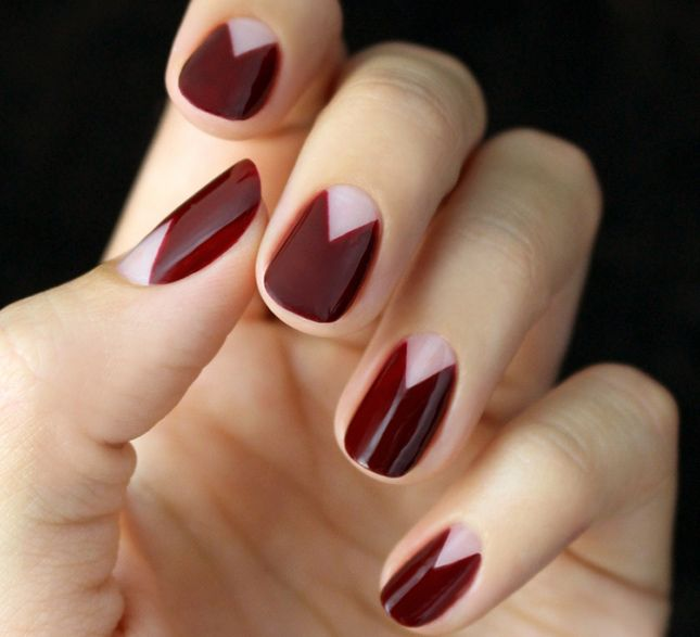 This burgundy half moon mani is perfect for fall.