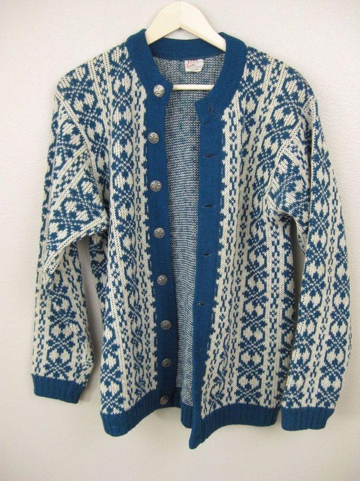 Firda Evebofoss Mens Button Down Sweater Norway New Wool Size 54 Teal Blue #evebofoss #Cardigan