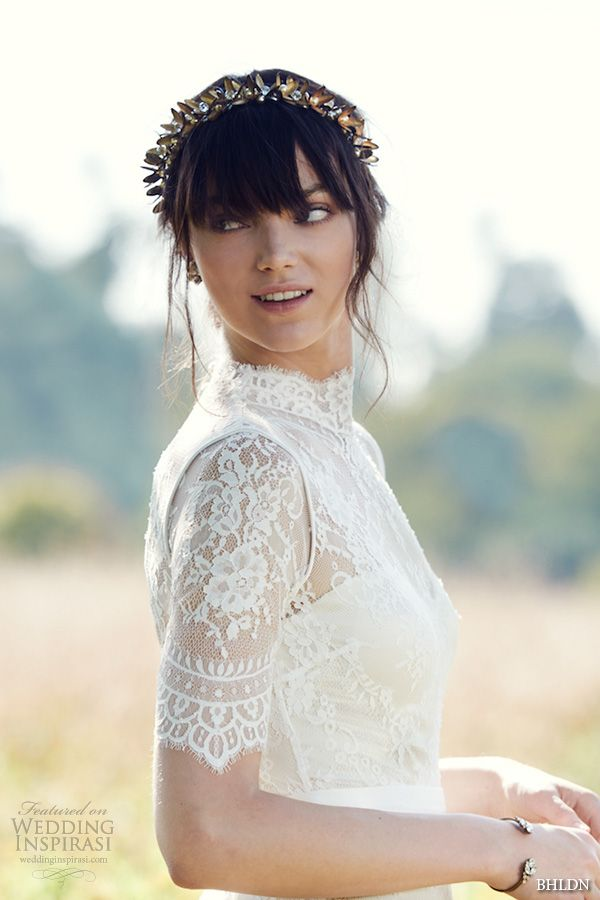 bhldn fall 2016 bridal dresses beautiful high neck lace short sleeves wedding dress with head pieces style bridgette side view