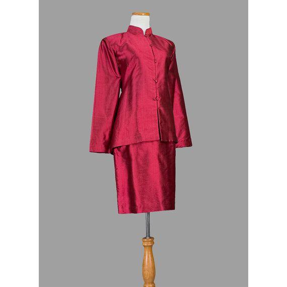 Vintage Damen Seiden Anzug / asiatische Rock von recyclinghistory