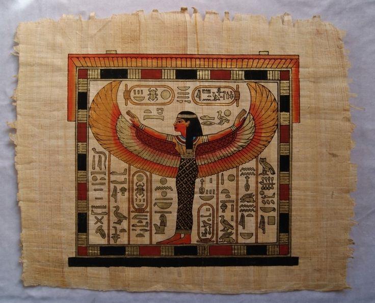 Originele Egyptische papyrus met faraonische afbeeldingen 5 Isis | Faraonische stijl - Pharaonic | buikdanswinkel-webshop
