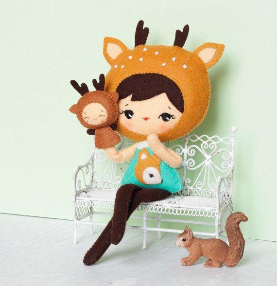 PDF. Deer girl with puppet .Plush Doll Pattern, Softie Pattern, Soft felt Toy Pattern.
