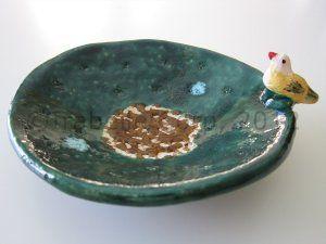 9000 - Handmade Ceramic Candy Dish with Bird