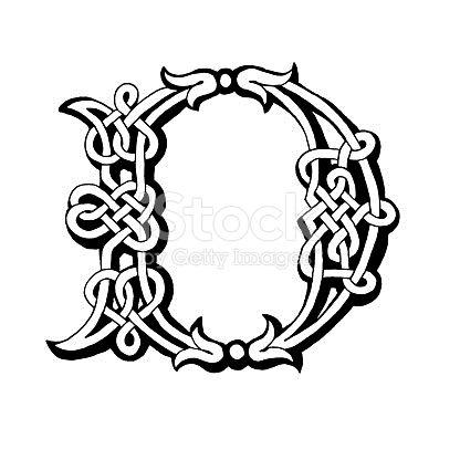 Hand drawn Celtic alphabet letter D