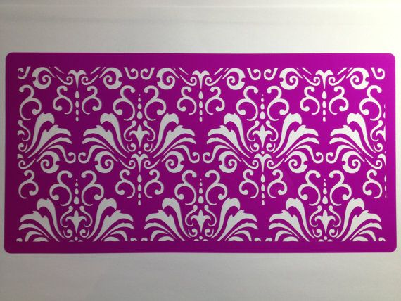 Chic Damask cake side cake stencil      decorating by Stenciland