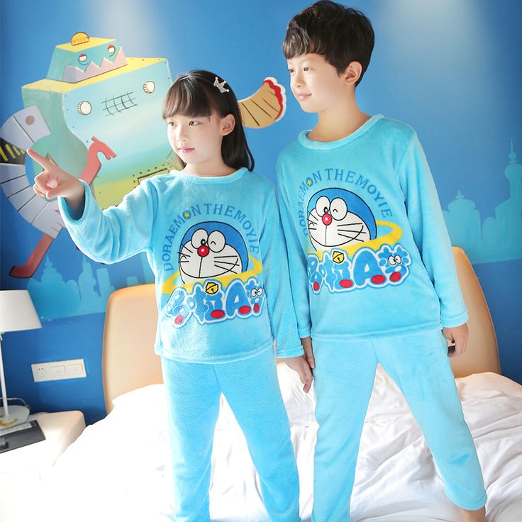 Special Offer Cheap Pajamas Kids winter Children long Sleeve Sleepwear Sets flannel Cartoon Lovely Unisex Girls Pajamas Sets