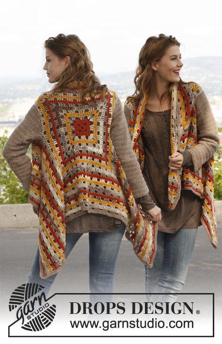 """Free pattern: Crochet DROPS jacket in """"Nepal"""", """"Big Fabel"""" and """"Alpaca Bouclé"""". Size: S - XXXL."""