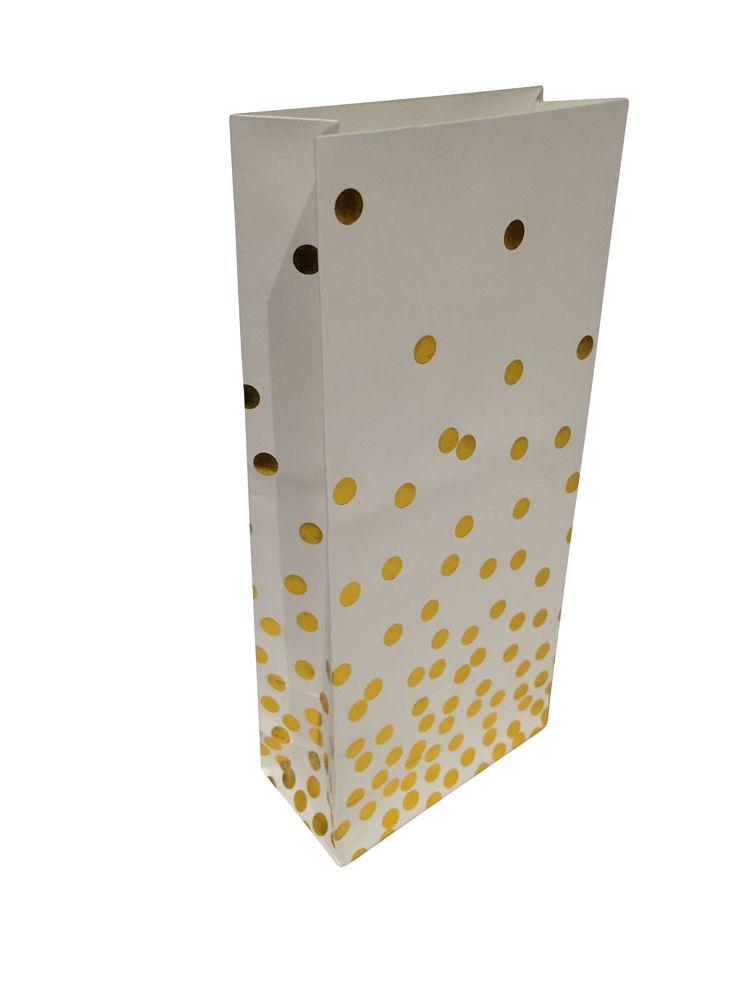 Gold confetti treat bags.