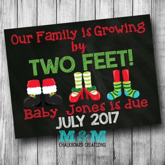 Our Family is Growing by Two Feet Christmas Pregnancy Announcement Pregnancy Reveal Xmas Pregnancy Announcement Printable Chalkboard