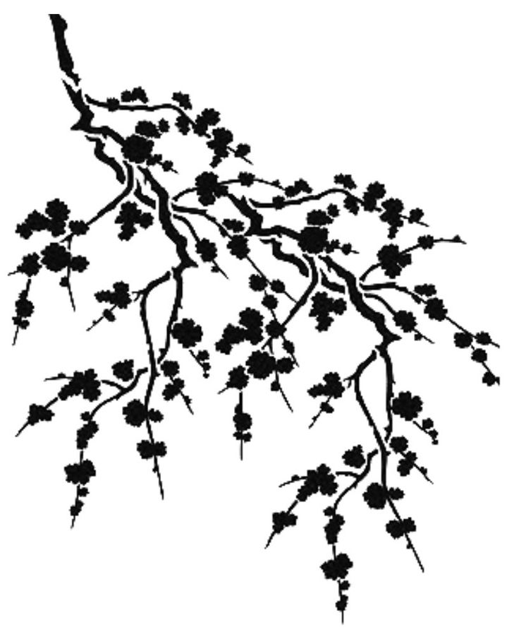 Cherry Blossom Tree Black And White: Cherry Blossom Silhouette Fake Tattoo 7x6cm