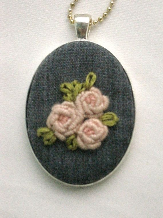 Pink and Gray Rose Embroidered Pendant