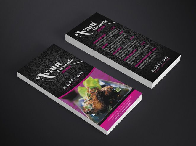 Saffron Indian Gourmet Promotional DL Flyer #indian #indianfood #ad #flyer #design #menudesign #menu