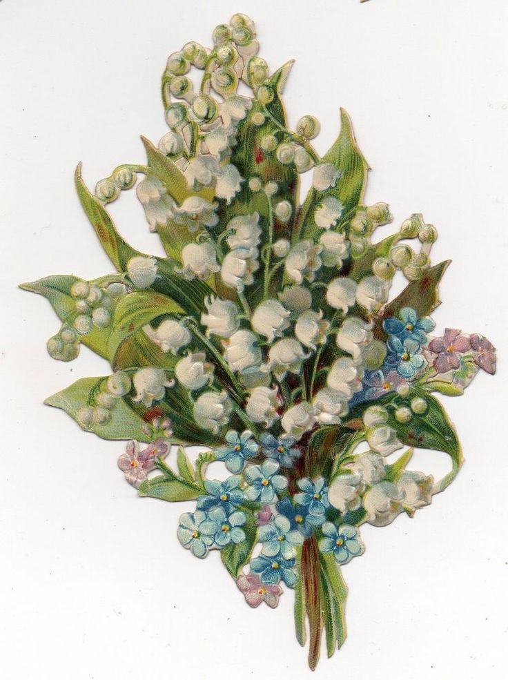 Chromo découpi oblaten glanzbild victorian die cut Fleurs blumen muguet 13.5cm