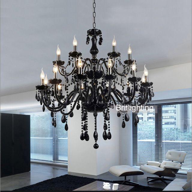 Lustres de cristal atacado europeus vela lustres de cristal do teto sala de estar moderna lustre de cristal preto