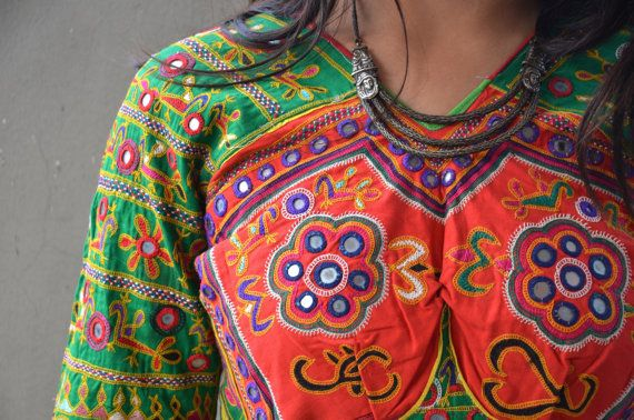 Tribal vintage choli gypsy belly dance top with by Faerymother