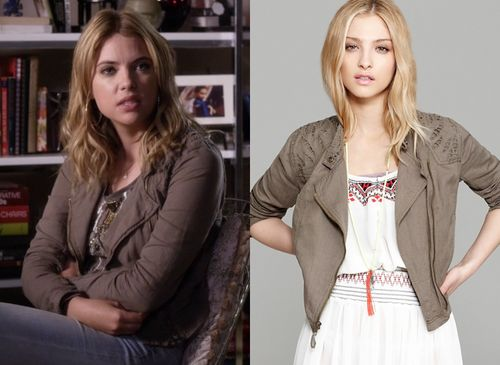 """Ashley Benson as Hanna Marin wore this khaki linen moto jacket with cutouts in Pretty Little Liars episode """"The Guilty Girls Handbook"""""""