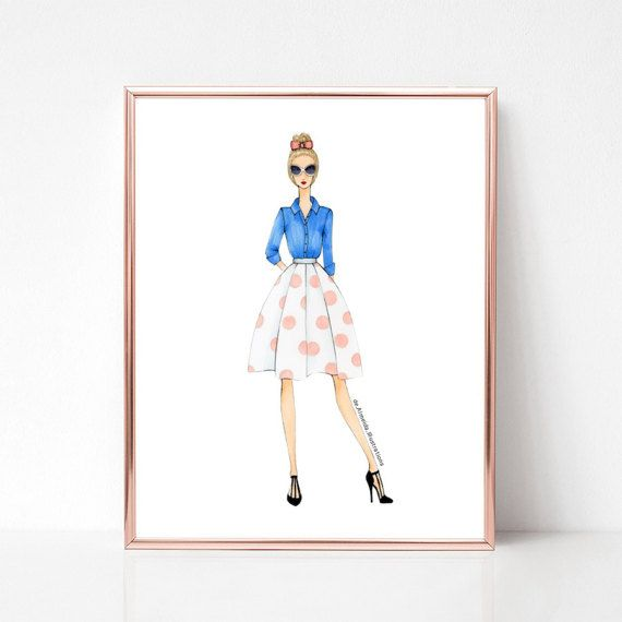 Polka dot + denim, fashion illustration print, art print, sketch, croquis,