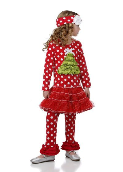 One Posh Kid FALLIDAY ROSETTE TREE APPLIQUE DRESS SET Holiday 2014