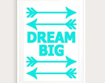 Dream Big Wall Art Inspirational Quote Quotes Quote Room Decor Teen Girl Decor Girls Room Decor