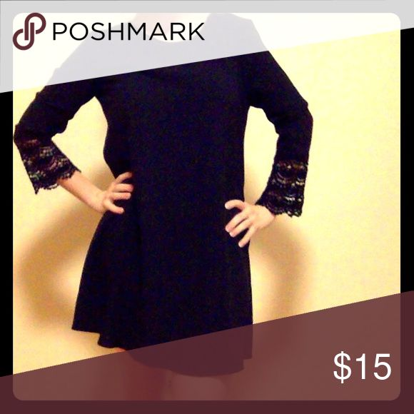 Adorable black dress with lace bell sleeves Its sized as an 8 but I listed it as a 6 because it runs small. Perfect for layering! Primark Dresses Mini