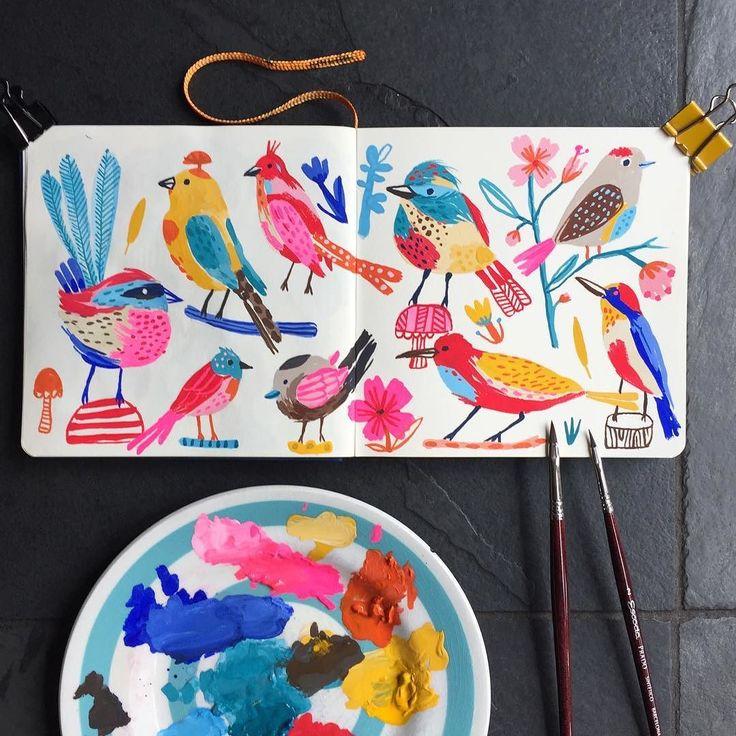 Super fun painting birdies this morning. #birds #goauchepainting…