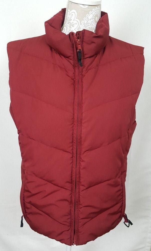 COLUMBIA Sportswear Red Down Puffer Coat Vest Large Retro Vintage Women's  #Columbia #Vest