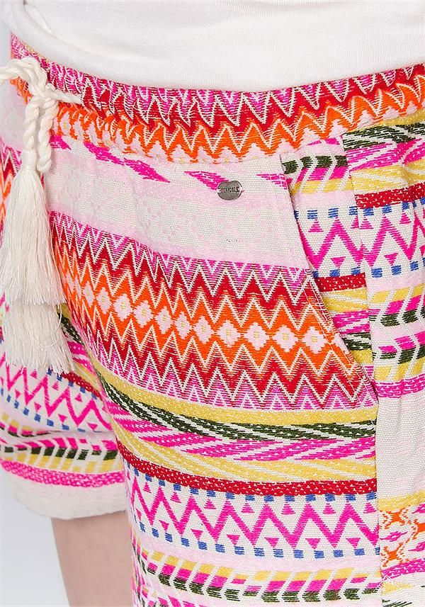 Tiffosi Womens Lampard Aztec Embroidered Canvas Shorts, Multi-Coloured | McElhinneys Department Store