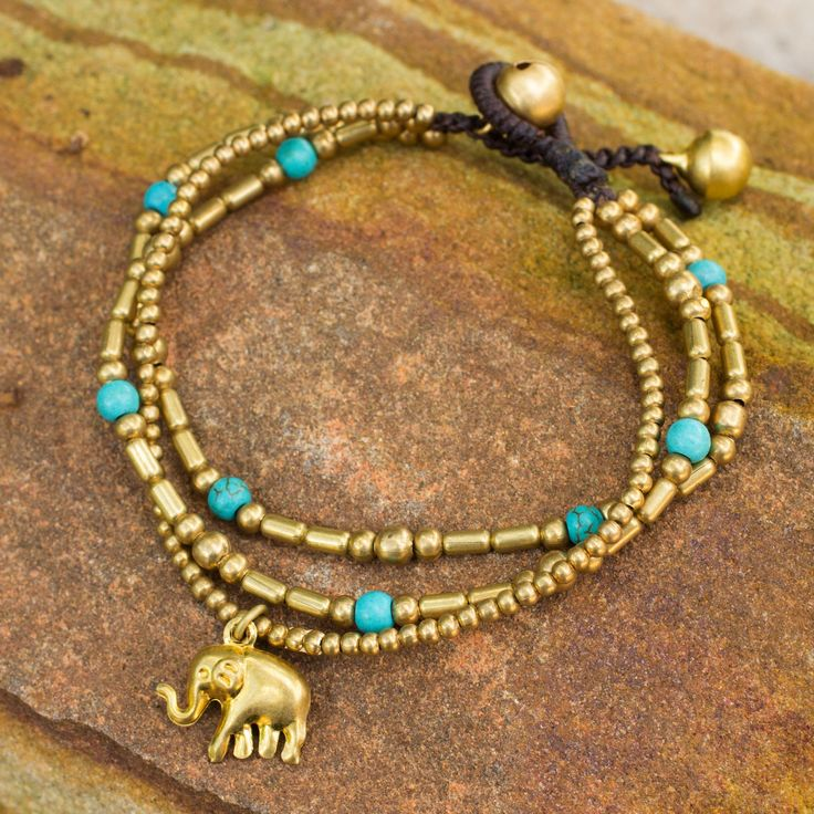 Brass Bracelet Turquoise-color Gems Beaded Jewelry - Thai Elephant Charm | NOVICA