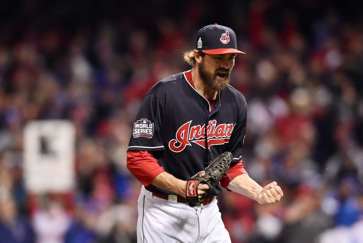 Oct 25, 2016; Cleveland, OH, USA; Cleveland Indians relief pitcher Andrew Miller reacts after striking out Chicago Cubs catcher David Ross (not pictured) to end the top of the 7th inning in game one of the 2016 World Series at Progressive Field. Mandatory Credit: Ken Blaze-USA TODAY Sports