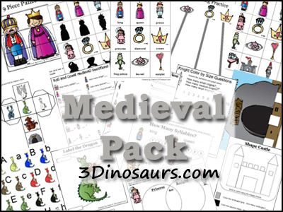 Free Medieval Pack with over 215 pages of activities for ages 2 to 8 from 3 Dinosaurs I just looked at these are there is SO MUCH free here. Saving and printing right now.